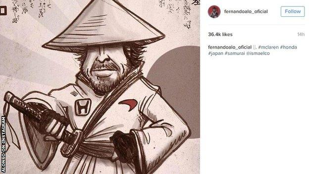 Fernando Alonso put a picture of him in Samurai form on Instagram