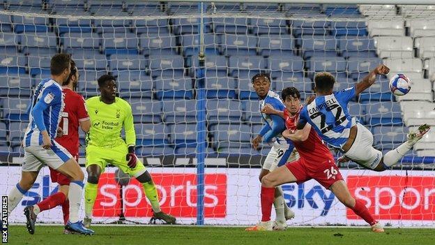 Huddersfield's Fraizer Campbell scores against Nottingham Forest