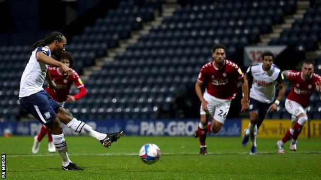 Daniel Johnson scores a penalty for Preston