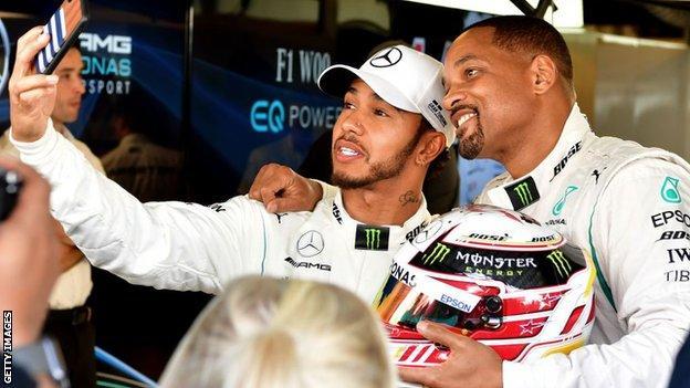 Lewis Hamilton and Will Smith