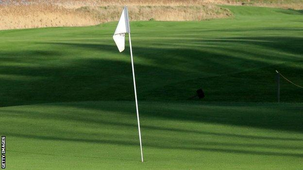 A generic view of a flag on a golf course green