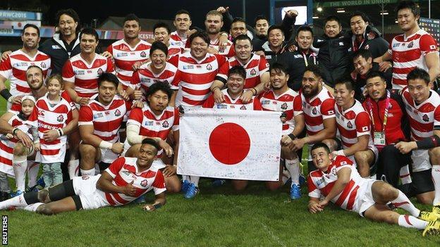 Japan celebrate victory