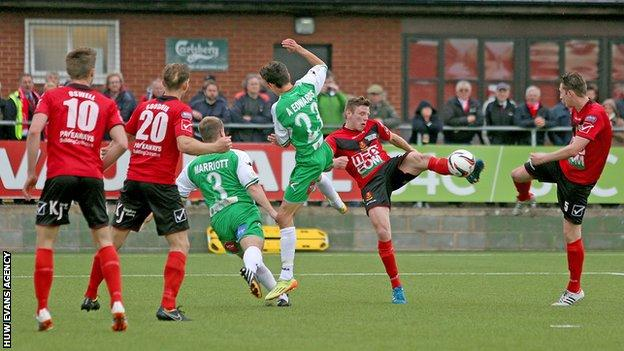 Newtown (in red) lost the Welsh Cup final to TNS but beat Aberystwyth in the play-off final for a place in Europe