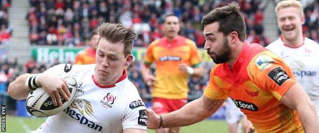 Ulster wing Craig Gilroy (left) scored a fine solo try in Sunday's Pro12 game against the Scarlets