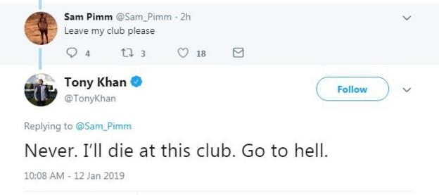 Khan replied to a tweet asking him to leave the club and claimed the fan had been critical in the past
