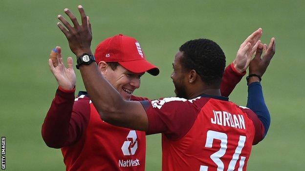 England's Eoin Morgan and Chris Jordan