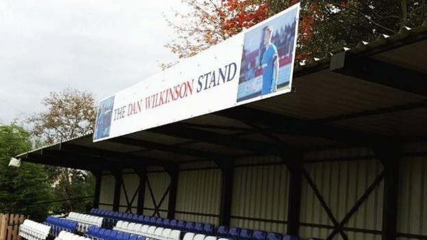 The Dan Wilkinson Stand at Shaw Lane's former ground before they moved to Sheerien Park in the summer. The club is awaiting planning permission to put the stand up at their current base