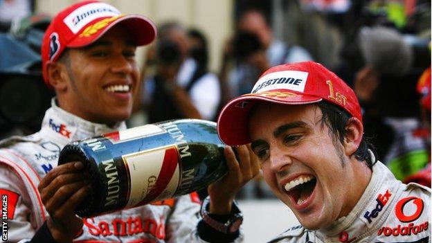 Lewis Hamilton and Fernando Alonso at the Monaco Grand Prix in 2007