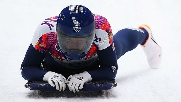 Lizzy Yarnold wins gold at Sochi 2014.