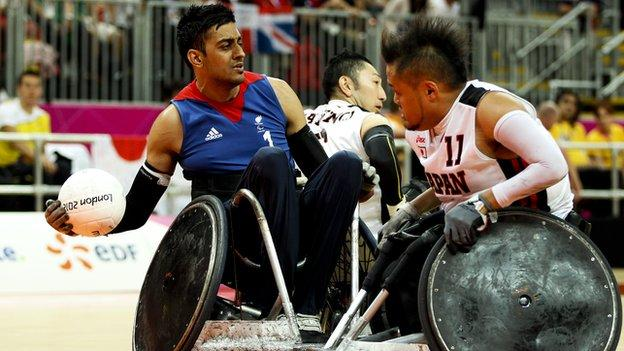GB wheelchair rugby player Mandip Sehmi in action at London 2012