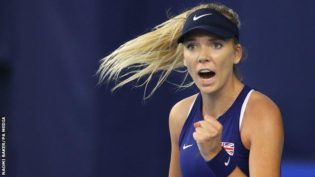 Katie Boulter celebrates winning a point in the Billie Jean King Cup tie against Mexico