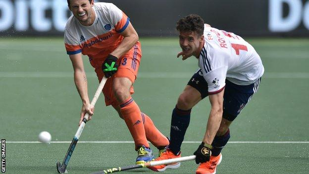 Phil Roper scored for Great Britain to put them 3-2 up in the third-place match before hosts the Netherlands
