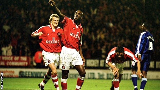 Richard Rufus of Charlton celebrates scoring a goal
