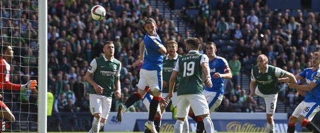 David Gray (second right) heads a stoppage time winner for Hibs