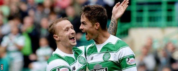 Celtic's Leigh Griffiths and Mikael Lustig celebrate