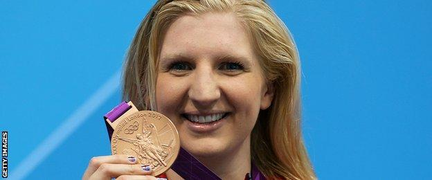 Rebecca Adlington with bronze medal at London 2012