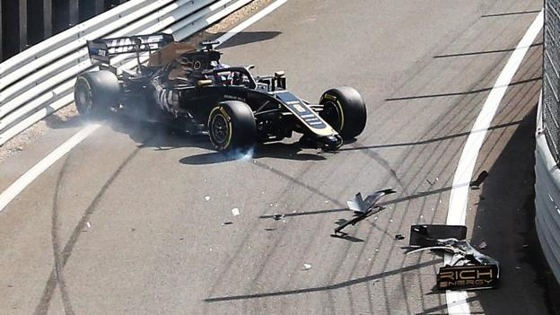 British GP: Romain Grosjean crashes in pit lane at Silverstone thumbnail