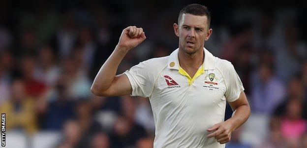 Australia fast bowler Josh Hazlewood celebrates taking a wicket in the final Ashes Test against England at The Oval