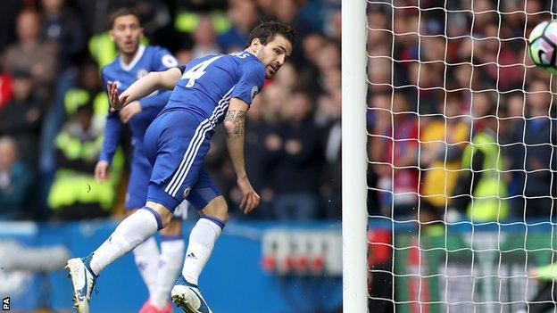 Cesc Fabregas puts Chelsea 1-0 ahead