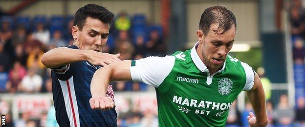 Ross County's Tim Chow and Hibs' Steven Whittaker