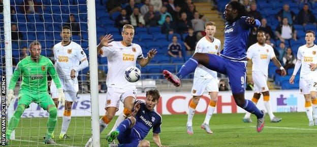 Striker Kenwyne Jones almost pulled a goal back for Cardiff City against Hull