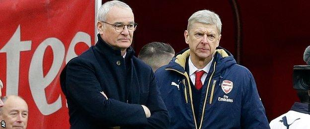 Leicester manager Claudio Ranieri and Arsenal boss Arsene Wenger