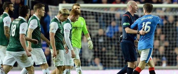 Rangers' Andy Halliday is sent off against Hibernian