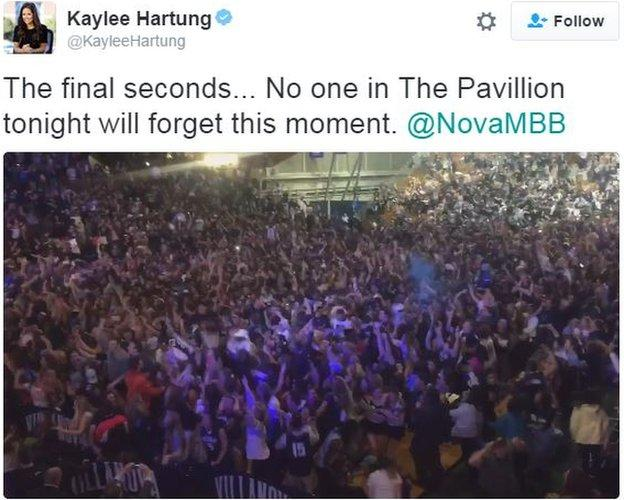 ESPN reporter Kaylee Hartung filmed the crowd's reaction back at Villanova's 6,500-seat arena The Pavillion