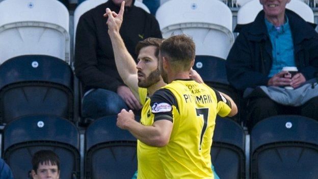 Livingston's Liam Buchanan celebrates