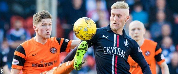 Dundee United's Blair Spittal and Falkirk's Craig Sibbald