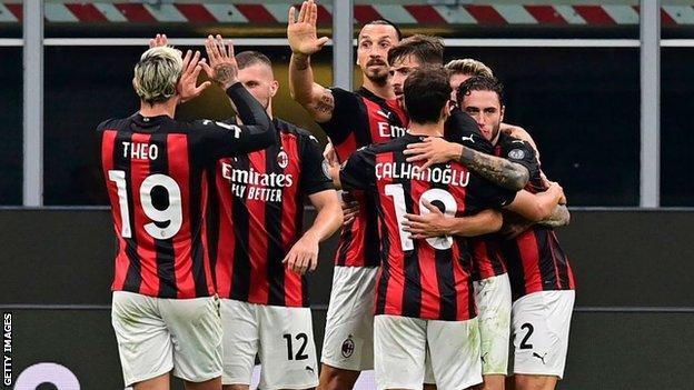 AC Milan celebrate Zlatan Ibrahimovic's goal