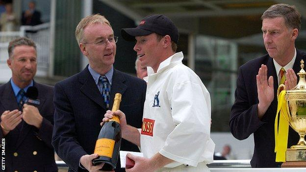 Ian Bell was man of the match in his first Lord's final for Warwickshire, the 2002 Benson and Hedges Cup win over Essex