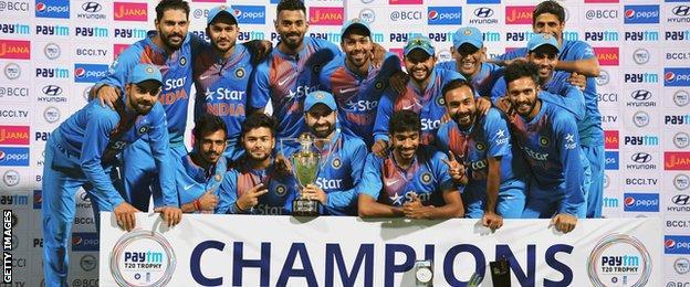 India with the Twenty20 series trophy