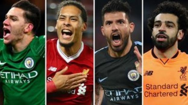 Ederson, Virgil van Dijk, Sergio Aguero and Mohamed Salah