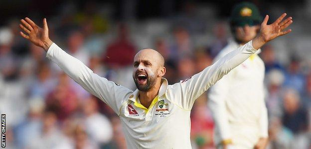 Australia spinner Nathan Lyon appeals during the final Ashes Test against England at The Oval