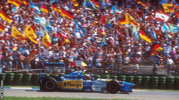 Michael Schumacher after winning the 1995 German GP