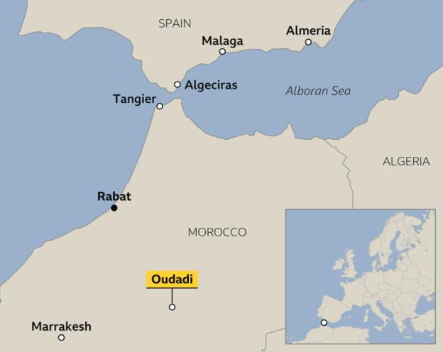 Map showing location of Oudadi