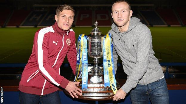 Hearts' Gavin Reilly (left) joins Hibernian's Dylan McGeouch at the fifth round draw at Hampden