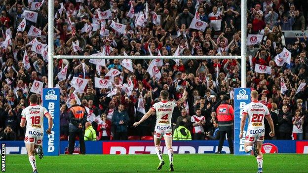 St Helens fans at the Super League Grand Final