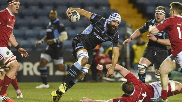 Josh Strauss was in determined mood at Rugby Park