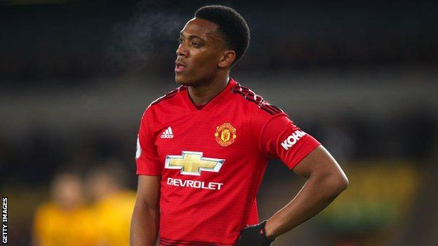 Manchester United forward Anthony Martial looks dejected after defeat by Wolves