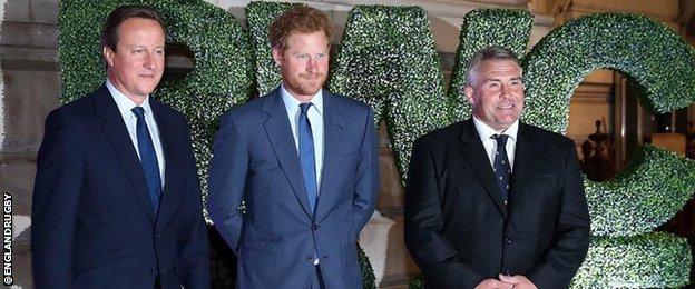 David Cameron, Prince Harry and Jason Leonard
