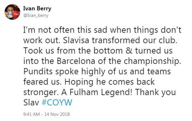 Reaction from Fulham fan: Ian Berry
