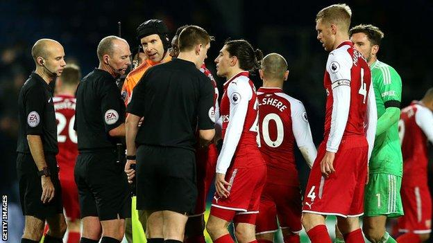 Arsenal were angered by referee Mike Dean's award of a penalty for West Brom