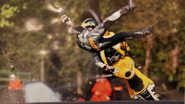 John escapes injury as his bike tumbles in the 2005 crash which also occurred at Oulton Park