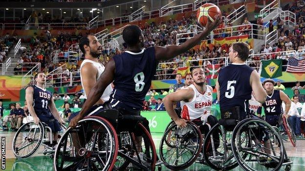 Brian Bell of USA in action during the men's wheelchair basketball gold-medal match between Spain and USA at the Rio Paralympic Games