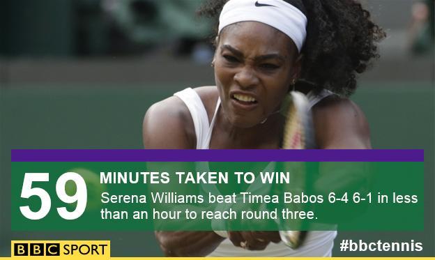 Serena Williams wins in 59 minutes