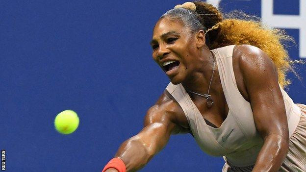 Serena Williams stretches for a return against Victoria Azarenka at the 2020 US Open