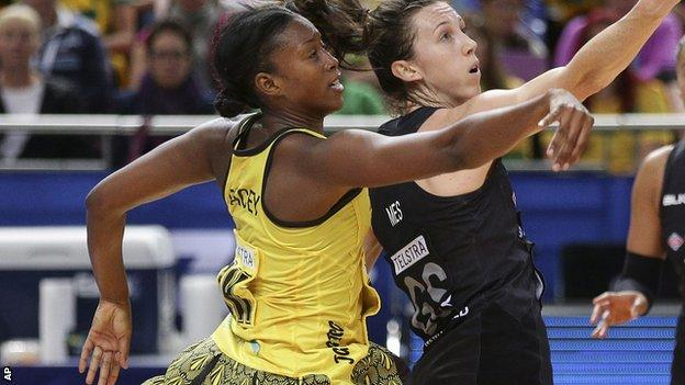 Jamaica's Stacian Facey in action against New Zealand