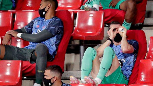 Gareth Bale watches July's La Liga match at Granada along with other Real Madrid substitutes